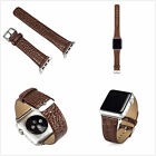 Brown Crocodile Genuine Leather Wrist Band Strap Belt For Apple Watch 42/38mm