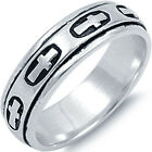 New 925 Sterling Silver Cross Design Spinner 5mm Comfort Fit Band Ring Size 7-13
