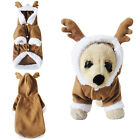 Lovely Soft Pet Dog Puppy Clothes Christmas Deer Hoodie Jumpsuit  Apparel Costum