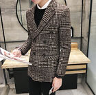New Men's Classic Double Breasted Houndstooth Check Slim Fit Casual Jacket Coat