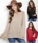 Chic Bohemian boho Slouchy Loose Fit Peasant Crochet Bell Long sleeve Top Blouse