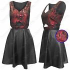 New Ladies Skater Dress Cut Out Womens Pu Black Skirt Leather Look Party Red Top