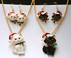Christmas Cat w Santa Hat Necklace w Fish Hook Earrings Set / Gold-tone