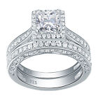 Women 2ct Princess AAA Cz 925 Sterling Silver Wedding Engagement Ring Set 5-12