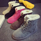 Women's Flat Lace Up Fur Lined Winter Warm Martin Boots Snow Ankle Boots Shoes