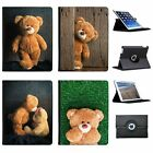 Fun & Games With Cuddly Toy Teddy Bear Folio Cover Leather Case For Apple iPad