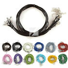 10Pcs Leather Cord With Jewelry Lobster Clasps Necklace Chain 460/510mm 12 Color