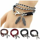 New Pop Bangles Unisex Jewelry Accessories Faux Leather Feather Charms Bracelets