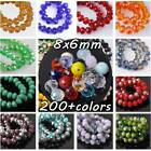 (238 COLORS) 30pcs 8mm Rondelle Faceted Crystal Glass Loose Spacer Beads Bulk
