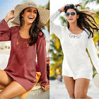 New Womens Lace Casual T-Shirt Ladies Long Sleeve Tops Blouse UK Size 6-14