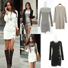 Fashion Women Long Sleeve Slim Side Slit Bodycon Cotton Mini Shirt Dress S-XL