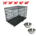 Metal Dog Cage Crate Puppy Pet Carrier Training Folding Carrier Feeding Bowls