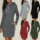 Women's Ladies Hooded Sweatshirt Long Sleeve Sweater Hoodies Jumper Mini Dress