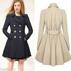 Women Lady Elegant Breasted Button Long Bodycon Trench Coat Jacket Parka Winter