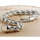 MEN'S HEAVY SOLID STERLING SILVER BRAIDED CURB BRACELET