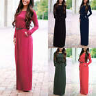 Women Ladies Casual Long Sleeve Maxi Evening Cocktail Party Long Dress With Belt