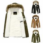 Men's Fur Winter Warm Coat Collar Hooded Parka Thick Down Outwear Jacket Top