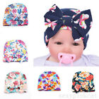 Newborn Infant Toddler Girls Baby Stripe Bowknot Beanie Hat Comfys Hospital Cap