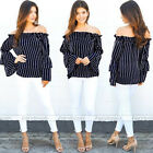 Sexy Ladies Chiffon off Shoulder Shirt Tops Loose Long Sleeve Blouse Soft Shirt