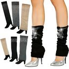 2 Pack: David & Young Knit Leg Warmers w/Rhinestone Highlights-Style and Comfort