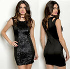 Black Sequined Club Party Sleeveless Bodycon Evening Cocktail mini Fitted Dress