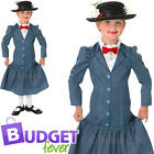 Mary Poppins Girls Fancy Dress Disney Victorian Nanny Kids Childrens Costume New