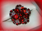 RED CRYSTAL FLOWER AWARENESS RIBBON SILVER RING~ADJUSTABLE SIZE 7/8/9~W GIFT BAG
