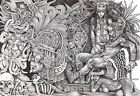 Aztec Dream by Mouse Lopez Mexican Indians Black White Canvas Art Giclee Print