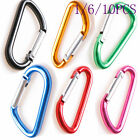 D Shape Straight Gate Carabiner 4mm Camp Snap Hook Keychain Hiking 1/6/10pcs