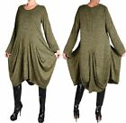 ASSYMETRISCH WINTER KLEID TUNIKA LAGENLOOK 44 46 48 50 L XL XXL KHAKI GRÜN WARM