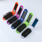 Mini Portable Travel Folding Hair Brush With Mirror Compact Pocket Size Comb