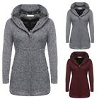 Winter Warm Women Casual Minimalist Coat Long Sleeve Hooded Long Jacket B20E