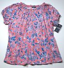 NEW S M CHAPS BY RALPH LAUREN PEASANT TOP BLOUSE PINK BLUE FLORAL WOMENS