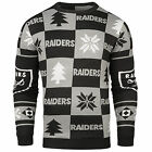 NFL UGLY SWEATER Pullover Christmas Style OAKLAND RAIDERS Patches Football