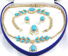 Turquoise 18KGP Golden Link Crystal Pendant Necklace Bracelet Earrings Ring Set
