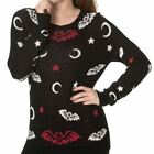 Banned Bat Skeleton & Crescent Moon & Stars Knitted Gothic Black Jumper