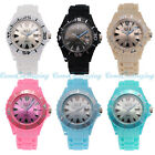 Fashion Unisex Mens Women Geneva Silicone Rubber Jelly Gel Quartz Wrist Watch