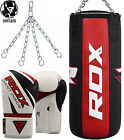 RDX Pro 3FT Leather  Punch Bag Filled Set Boxing Gloves MMA Muay Thai Training