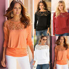 New Autumn Womens Loose Long Sleeve Lace Casual Ladies Shirt Tops Blouse T-shirt