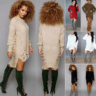 Womens Long Sleeve Knitted Sweater Bodycon Slim Party Jumper Mini Dress UK 6-16