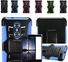 Tempered Glass+2Layer Rug Case Cover w/Holster Clip For ZTE ZMAX Pro /Carry Z981