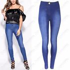 LADIES DISTRESSED SKINNY JEANS WOMENS HIGH WAISTED STRETCH DENIM JEGGINGS LOOK
