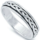 925 Sterling Silver Celtic Knot Spinner Comfort Fit Cigar Band Ring Size 4-14