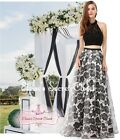 CHERYL Black & White Print 2 Piece Prom Evening Bridesmaid Dress UK Sizes 8 - 14