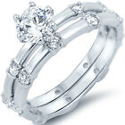 Sterling Silver Round Clear CZ Engagement Wedding Promise Love 2 in 1 Set Ring