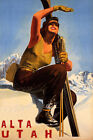 ALTA UTAH SKI MOUNTAINS SUNNY DAY WINTER SPORT GIRL SKIING VINTAGE POSTER REPRO
