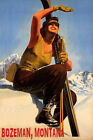BOZEMAN MONTANA SKI MOUNTAINS SUNNY DAY WINTER SPORT SKIING VINTAGE POSTER REPRO