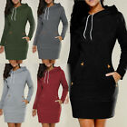 Fashion Womens Solid Hooded Bodycon Pullover Long Sleeve Short Hoodie Mini Dress