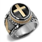Men's Stainless Steel Black and Rose Gold IP Christian Cross Ring - Sizes 8-14