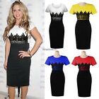 Fashion Women Short Sleeve Lace Splicing casual Pencil O-Neck Bodycon Dress ED